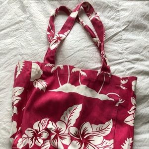Pink and white tropical print canvas breach tote